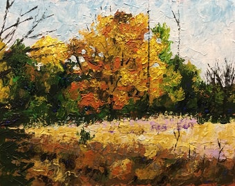 "Original Impressionist Impasto Acrylic Painting 11x14 ""Clearing in the Woods"""