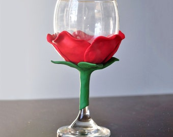 Red Rose Unique Wine Glass