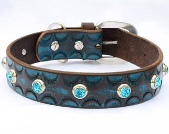 "Turquoise Leather Dog Collar, Western Dog Collar, Stamped Leather Dog Collar . Teal Dog Collar, Size 17""- 19"" or custom order"