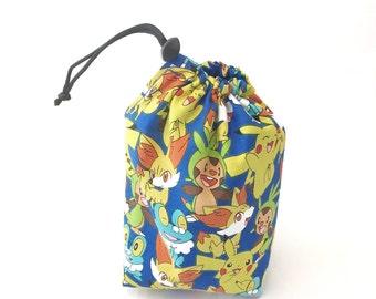 Pokémon XY, Dice Bag, Draw String Bag, Free Standing, Revisable, Gamer Bag, D&D Dice Bag, Makeup Bag, Small Gift Bag, Pouch, RTS
