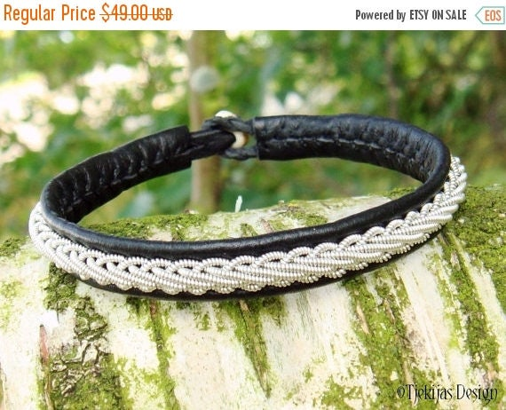 THOR Black Leather Viking Bracelet Custom Handmade Swedish Sami Pewter Braid Reindeer Antler Bracelet - Natural Nordic Elegance
