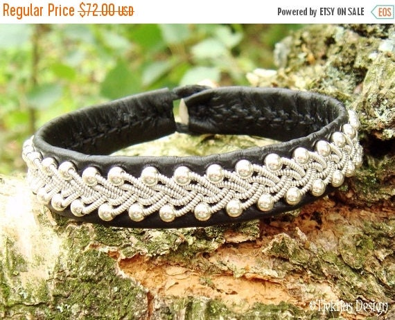 Sami Black Reindeer Leather Bracelet Cuff SKINFAXE Viking Silver Jewelry - Custom Handmade Scandinavian Design