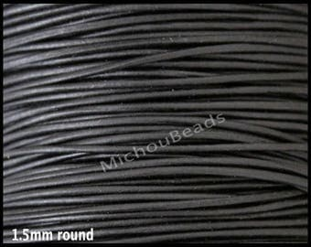 5 Yards 1.5mm Round LEATHER Cord - MATTE Black 15 Feet Genuine Natural Lead free dye Indian Boho Leather Wholesale Cording by the Yard USA
