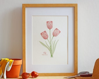 Tulip Flower Wall Art – Letterpress Botanical Art Print