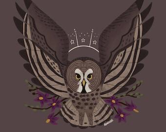 Great Grey Owl Familiar CROSS STITCH PATTERN Original Art by Callupish