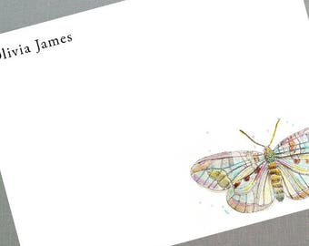 Personalized Butterfly  Flat Notes,Butterfly gifts, Boho Style, Set of 15