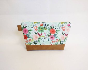 Mint floral makeup bag with cognac faux leather