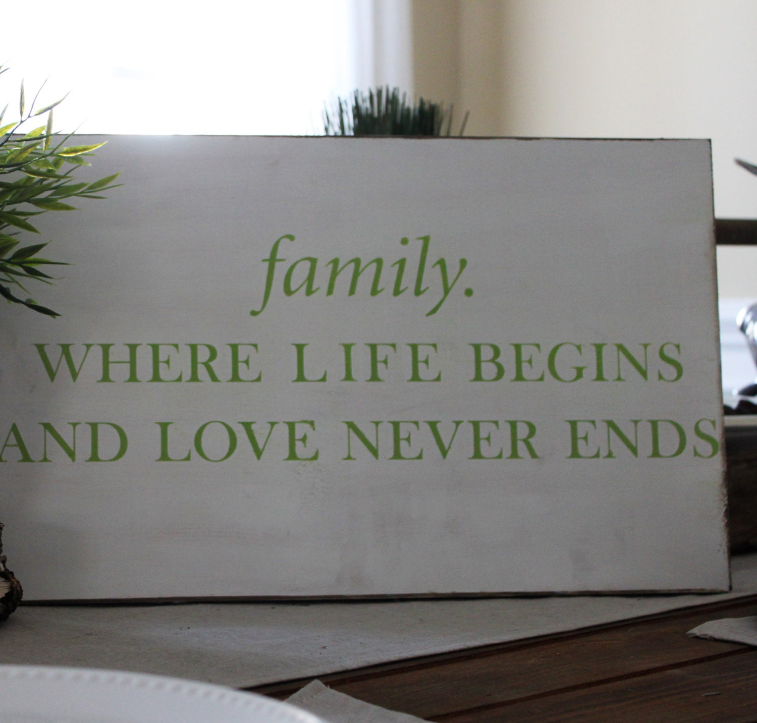 family. Where Life Begins and Love Never Ends Pine Wood Vintage Distressed  Wall Art