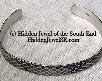 Mens Bracelet, Darkened Sterling Silver mens Cuff, cool gifts for guys , gift for daddy (W111)