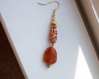 Wood Earrings Painted Orange Bead Long Drop Earrings in Gold