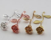 2 Pcs - Rose On Stem Pendant, Long Stem Rose, Bouquet, Flower, Leaves, Silver Gold Matte, Metal Jewelry Findings, Necklace (40x24MM) CON1714