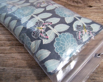 Relaxing eye pillow filled with  flaxseeds and  a hint of lavender - blue flower fabric with butterfly  - Ready for gift giving-breathe