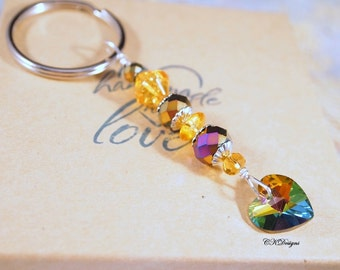 Heart Keyring, Rainbow Glass Heart Key Chain, Colorful beaded Key Chain, Gift for Her, Bag Charm, OOAK Handmade Keychain. Gift for Her.
