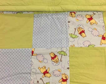 READY YO SHIP- Honey Bear Quilt, Gender Neutral, Blue, Green, Toddler, Crib Size, lap Quilt, Throw