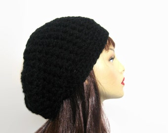 Black Slouchy Beanie Black Crochet Slouch Black knit Beanie Black Slouch Hat Black Knit Cap Black slouch beret Crochet Slouchy Cap Black Tam