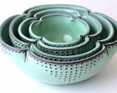 Ceramic Nesting Bowls - Set of 4 Serving Dishes - Rustic Aqua Mist - MADE TO ORDER