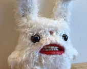White Rabbit - Handmade and OOAK - Uncanny Creature /Ready to ship/ Quirky Uncanny Scary Creepy Cute