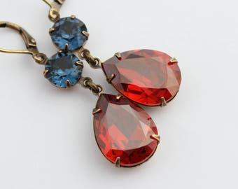 Swarovski Magma Red earrings, Red earrings, Swarovski earrings, bridal earrings, Fall wedding, magma red earring, burnt orange double MR02