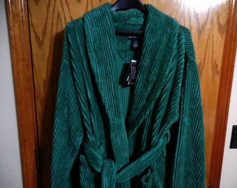 Nos Forest GREEN Chenille ROBE - Plush Deep Green Chenille Lines NDK New York Chenille Bathrobe - Free Shipping