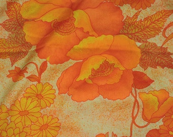 Vintage 60s Bright Orange Yellow Hawaiian Fabric 3 yards Floral G.V.H. Acrylic Barkcloth Hippie Hawaii