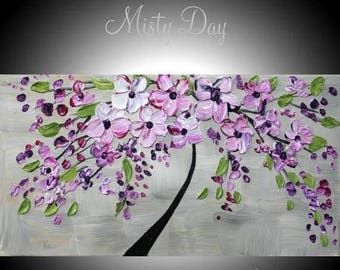"SALE Oil Landscape Abstract Original Art palette knife oil "" Misty Day""  impasto oil painting by Nicolette Vaughan Horner"
