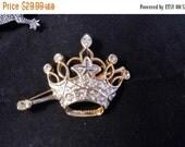 Now On Sale Rhinestone Crown Brooch Vintage 1950's 1960's Old Hollywood Regency Glam Vintage Jewelry