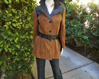 Vintage 1970's Junior Accent Brown Faux Suede Jacket with Dark Brown Faux Leather Accents - Size Medium