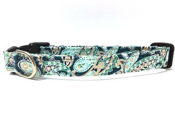 Dog Collar- The Mint Paisley