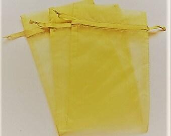 Set of 10 Daffodil Yellow (3x4) Organza Bags