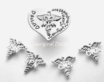 Nursing Pin - BSN - LPN... - hand stamped stainless steel - any text that fits - available charms in last photo - See ALL photos!