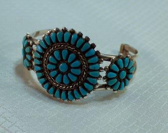 "Zuni S. Pinto Sterling and Sleeping Beauty Sunburst Native American Bracelet. 6.5"" Inside Circumference"