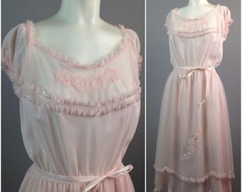 Vintage 1950s 1960s Pink Sheer Floral Embroidery Tiered Boudoir Nightgown Lingerie / Large / 60s Rockabilly Nightie Loungewear
