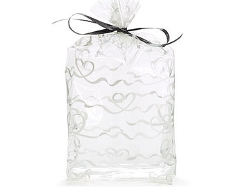 """Small White """"Scrolling Heart"""" Print Cello Treat Snack Goodie Bags Cellophane Baggies"""