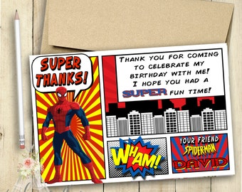 Spiderman Thank You Card / Spiderman Invitation / Spiderman Birthday Party /  Party / Customized / Personalized /Superhero / PRINTABLE