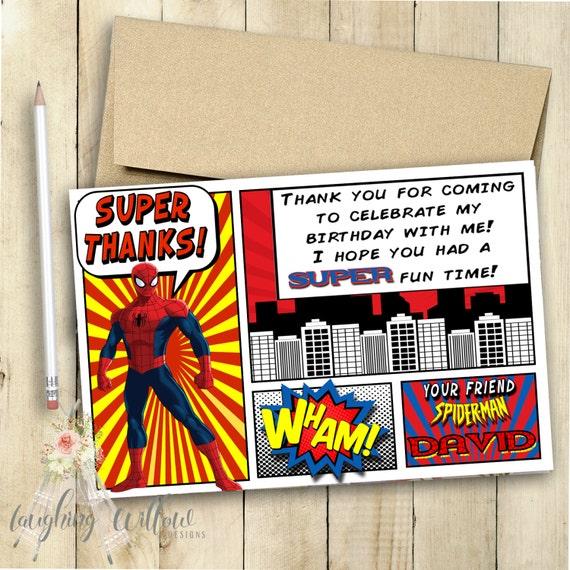 Spiderman Thank You Card / Spiderman Invitation / Spiderman