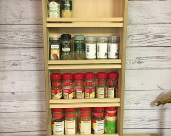 Hand Crafted Poplar Wood Spice Rack