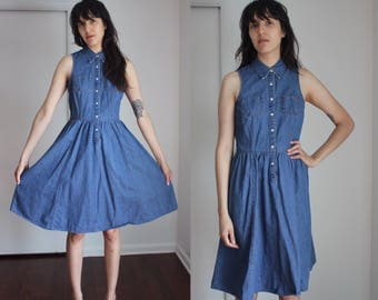Vintage Tommy Hilfiger Denim Snap Button Collared Sleeveless Dress XS-S