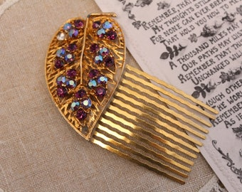 Vintage - Antique - Gold, Purple, Blue iridescent Bridal Hair Comb - Headpiece