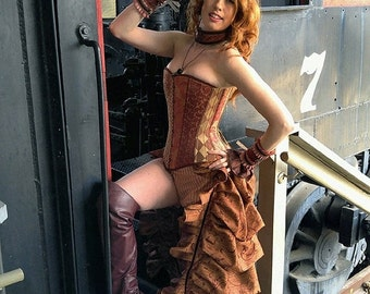 """10% OFF Steampunk Siren Bustle Overskirt -- Burgundy and Copper Embroidered Faux Silk - Fits up to 42"""" -- Ready to Ship"""