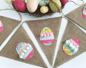 Quilted Egg Easter Burlap Banner Good For Easter Egg Hunt or Photo Prop. Easter Mantel Decoration
