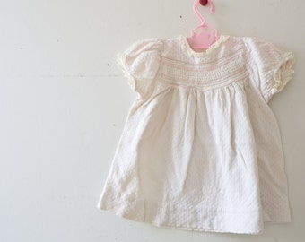 Vintage Baby Dress Vintage White Pink Smocked Floral Dress Size 12 Months Cradle Club Dress Flower White