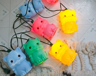Light up Patio Camper RV Cat Lights String Vintage Blow Mold Kitty Cat Lights