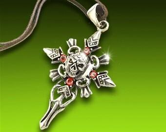 Tribal jewelry, Skull & Cross Pendant, Stainless Steel, Skull Cross Necklace, Decorative Skull, SLT-5