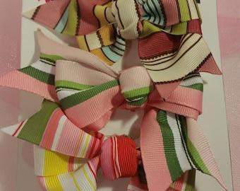 Multicolored Striped Pinwheel Hair Bows, Hair Bows, Multicolred Bows, Striped Hair Bows, Cute Hair Bows, Small Hair Bows, Hair Bow Sets