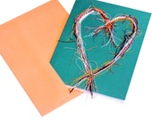 Heart Thread Art Painting Card, Original Paper-Stitched Textile Fiber Blank Notecard, Valentines Day Greeting, All Ocassions itsyourcountry