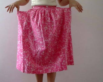 90s Pink White Cotton Apron Skirt 50s Style Extra Small