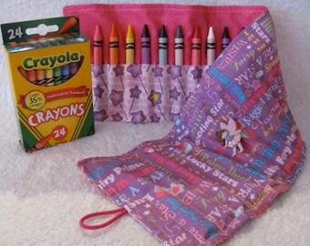 Crayon Roll Fairy Princess Purple 24 Crayon Roll Hot Pink & Purple Star Fabric Cute Fairy Button Elastic Loop Easy Close Easter Basket Idea