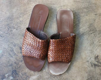 7 / Woven Leather Slides / Brown Leather Slip On Sandals / Cole Haan Women's Vintage Shoes