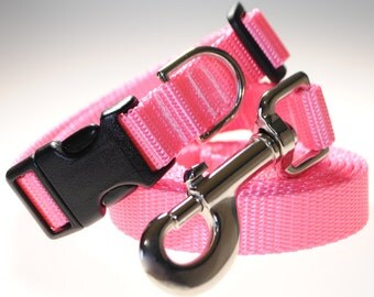 "Light Pink Collar and Leash Combination - 3/4"" Width"