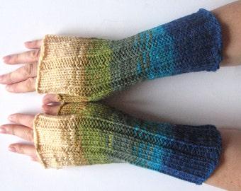 Fingerless Gloves Blue Turquoise Azure Beige Green wrist warmers